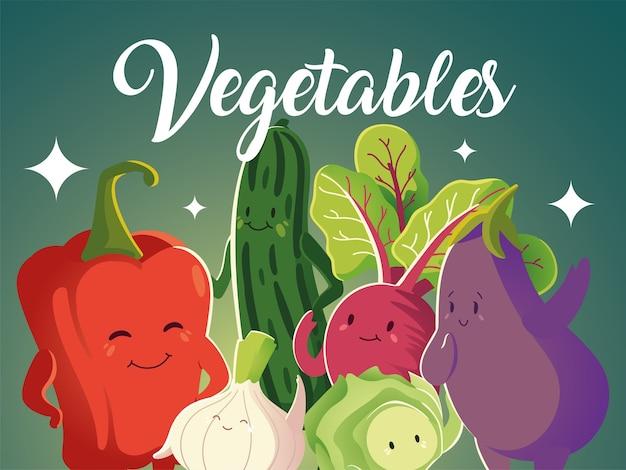 Gemüselebensmittelfrischpfeffer-gurken-auberginen-zwiebel-karikatur detailliert