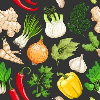 Gemüsemuster mit kräutern auf dunkelheit