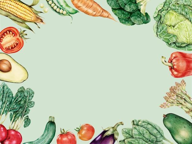 Gemüserandrahmenvektor handgezeichnet