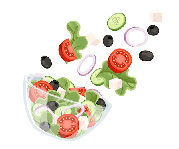 Gemüsesalat rezept. griechischer salat fällt in transparente schüssel. frisches gemüse cartoon design essen. flache illustration lokalisiert auf weißem hintergrund.