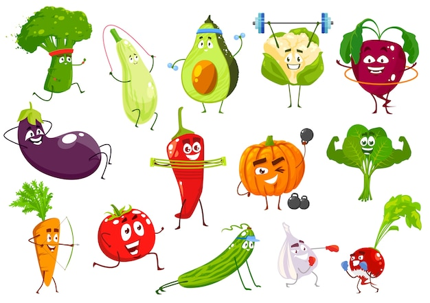 Gemüsesportler, brokkoli, kürbis und avocado, blumenkohl und rote beete. auberginen, chili petter und kürbis, spinat, karotten und tomaten mit gurken-, knoblauch- und radieschengemüse