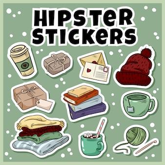 Gemütliche hipster-aufkleber