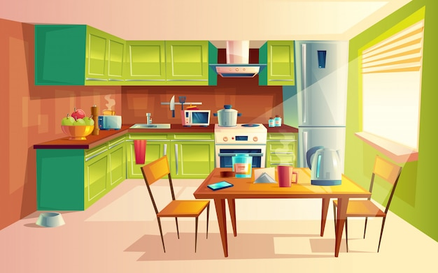 Gemütliche moderne küche mit geräten, kühlschrank, herd, toaster, mikrowelle.