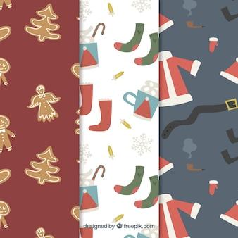 Gemütliche sammlung von weihnachtsmustern