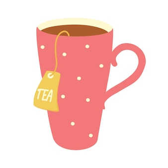 Gemütliche und beruhigende illustration der schönen tasse tee mit teebeutel. teeliebhaber, teetrinkkonzept. tolles design für café- und küchenposter, karte. vektor handgezeichnete cartoon-illustration.