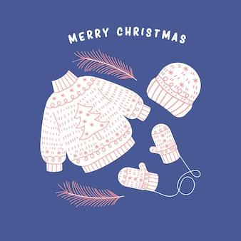 Gemütliche warme weihnachtskleidung strickpullover gat und fäustlinge festliche illustration