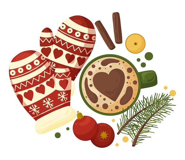 Gemütliche weihnachtskomposition mit tasse kaffee