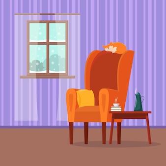 Gemütlicher innenraum der flachen karikatur des vektors des wohnzimmers