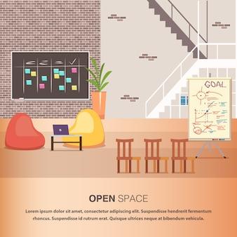 Gemütlicher offener raum des kreativen büro-coworking-zentrums