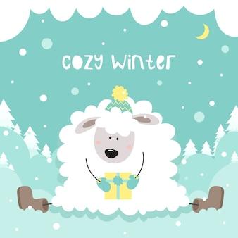 Gemütlicher winter. nettes kleines schaf hält ein geschenk