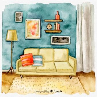 Gemütlicher wohninnenraum des aquarells