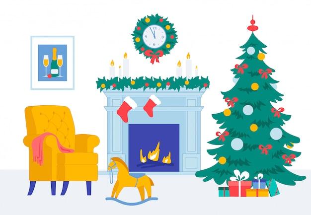 Gemütlicher wohnzimmer-neues jahr-weihnachtsabend-innenraum