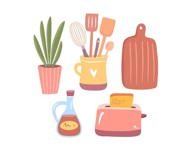 Gemütliches geschirrset isolierte sammlung von küchenwerkzeugen