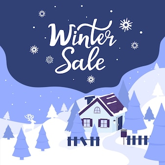 Gemütliches haus in den bergen. landschaft mit tannen und rehen. winterschlussverkauf-handbeschriftung. werbeplakat, banner für weihnachten und neujahr