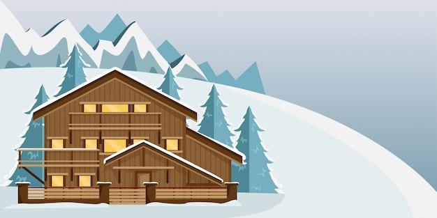 Gemütliches holzchalet in den bergen. berglandschaft. flacher stil. skigebiet.
