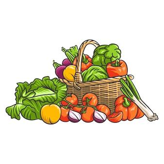 Gemütliches karikaturillustrationsgemüse