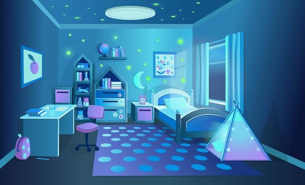 Gemütliches kinderzimmer mit spielzeug in der nacht. vektorillustration im karikaturstil.