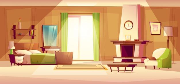 Gemütliches modernes schlafzimmer, wohnzimmer mit doppelbett, kamin, sessel.