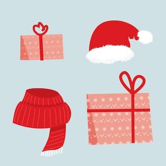 Gemütliches rotes accessoire des winters und weihnachtsgeschenkikone, vektorillustration, ferienzeitsatz