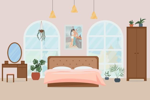 Gemütliches schlafzimmer interieur vector illustration in einem flachen stil
