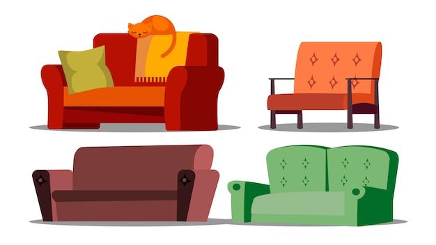 Gemütliches sofa, diwan, gepolstertes möbelset