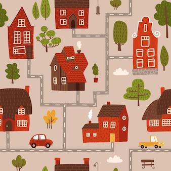 Gemütliches stadtplan-kinderzimmer nahtloses muster mit roten und braunen häusern der straßen