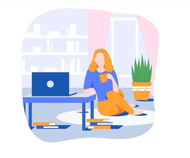 Gemütliches wochenende mit filmen. mädchen trinken tee, während sie filme am computer schauen. flaches design . von zuhause aus arbeiten.