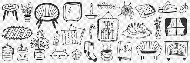 Gemütliches wohnaccessoires-doodle-set