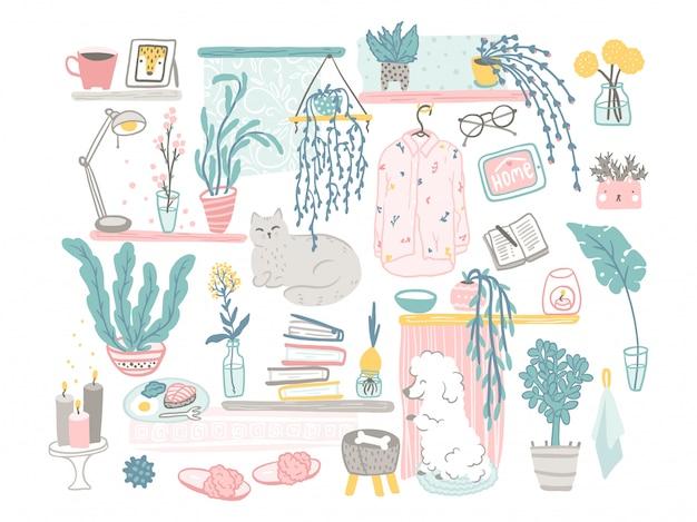 Gemütliches wohnkultur-elementset. hand gezeichnete illustrationen von niedlichen dingen und haustieren in einem einfachen cartoon flachen skandinavischen stil in einer pastellpalette. bleib zuhause.
