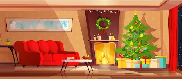 Gemütliches wohnzimmer interieur für weihnachtsferien dekoriert.
