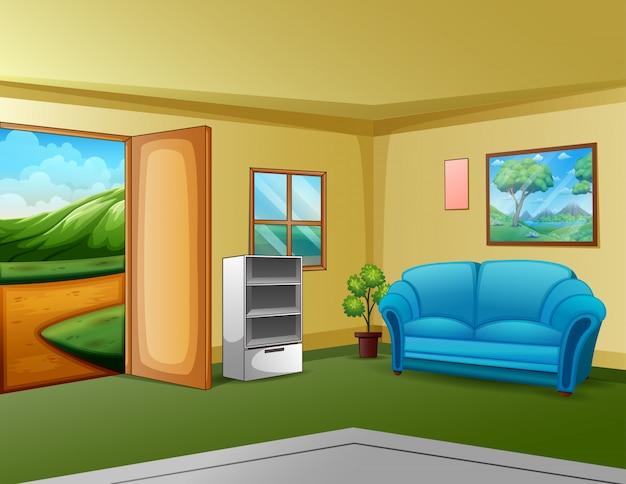 Gemütliches wohnzimmer mit blick in die natur