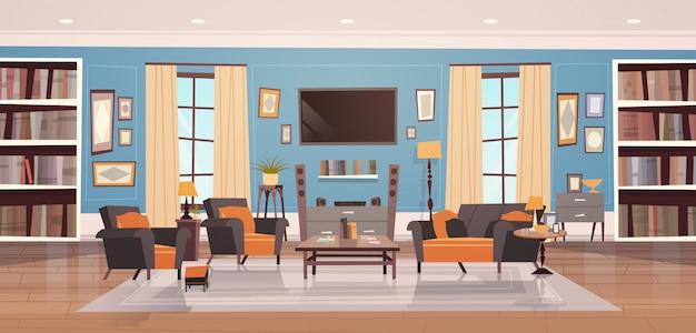 Gemütliches wohnzimmer mit modernen möbeln, fenstern, sofa, tischsesseln
