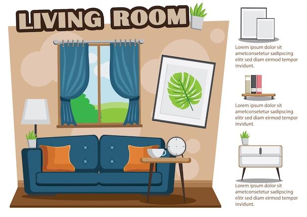 Gemütliches wohnzimmer mit sofa, buch, tabelle, feld auf brauner wand.