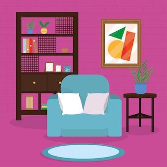 Gemütliches wohnzimmerhaus mit blauem sofa