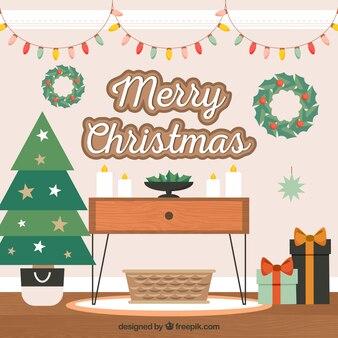 Gemütliches zuhause für weihnachten dekoriert