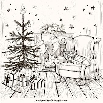 Gemütliches zuhause hintergrund mit hand gezeichnet weihnachtsbaum
