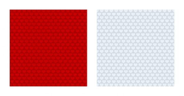 Gemusterte hintergründe des roten und weißen herzens