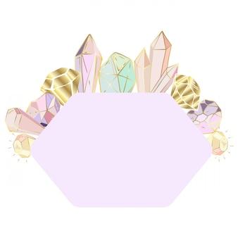 Gemusterter rahmen aus kristallen, edelsteinen