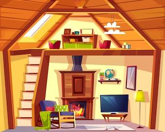 Gemütlicher Duplex-Hintergrund. Karikaturinnenraum des Spielzimmers - Kinderplatz und Wohnzimmer