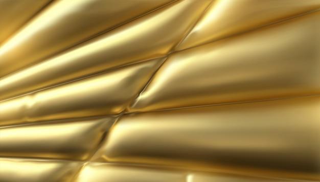 Genähte und aufgeblasene goldene stoffdekoration. abstrakter hintergrund. trendy cover design.