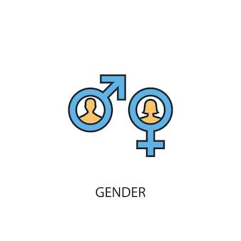 Gender-konzept 2 farbige liniensymbol. einfache gelbe und blaue elementillustration. gender-konzept-umriss-symbol-design