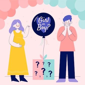 Gender reveal-konzept illustriert