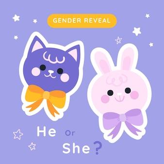 Gender reveal-konzept in gezeichnetem stil dargestellt illustrated