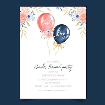 Gender reveal party einladung mit niedlichen ballon- und blumenillustration