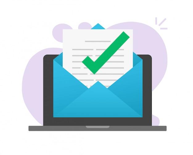 Genehmigte e-mail-nachricht auf dem laptop