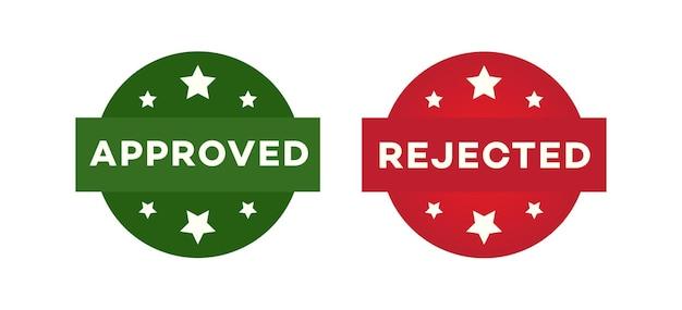Genehmigter und abgelehnter etikettensatz auf weißem hintergrund für die entscheidungsfindung im mobilen app-web