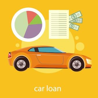 Genehmigtes dokument des autokredits mit dollargeld. modernes auto