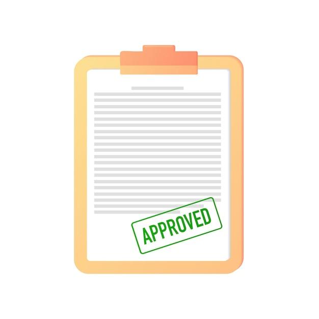 Genehmigtes stempelsiegel grün bestätigung eines dokuments vertragszertifikat webbanner