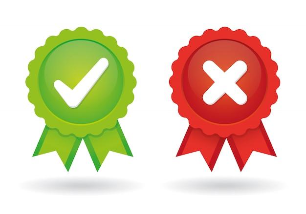 Genehmigtes und abgelehntes medaillenset