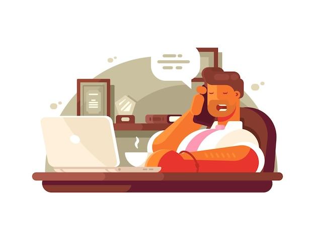 General manager, der am telefon spricht, sitzt im stuhl und trinkt kaffee. vektor-illustration